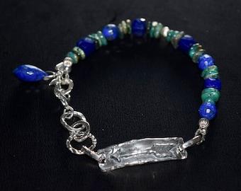 Wanderlust Bracelet~ Chrysocolla and Lapis Lazuli Artisan Bracelet ~ Healing Energy Stone Bracelet~ OOAK Gift Idea~
