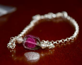 Dainty Watermelon Tourmaline Bracelet~ Sterling Silver and Stone Stacking Bracelet~ Energy Bracelets~ Valentine's Day Gift Ideas