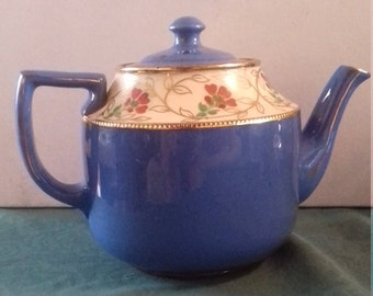 vintage antique teapot - unmarked handpainted flowers with brown glaze interior