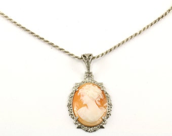 Vintage Woman's Profile Cameo Style Pendant Necklace 925 Sterling NC 243-E