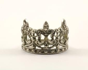 Vintage Crown Design 925 Sterling Silver Ring RG 2469
