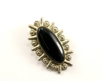 Vintage Mexico Oval Onyx Pendant 925 Sterling Silver PD 715