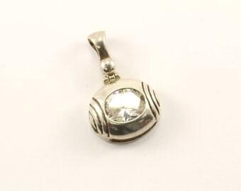 Vintage Oval Sparkling CZ Crystal Pendant 925 Sterling  PD 1748