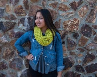 Handmade yellow-green infinity scarf