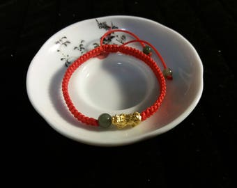 Lucky Chinese Red String Bracelet with one 24K Pure Gold Pixiu Charm and Three Natural Jade Beads