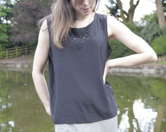 Retro Cami Top/ Black with Gold Bead and Flower Detail/ One size
