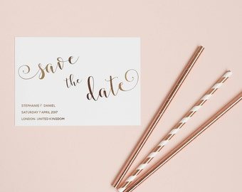 Rose Gold Save the Date, Modern Calligraphy Save the Date, Wedding Announcement, Copper Foil