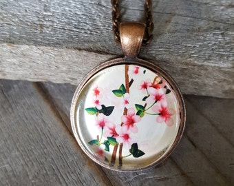 Cherry Blossoms Necklace, Antique Copper, Spring Fashion, Flower Jewelry, Vintage Jewelry, Pendant Necklace, Gift for Mom, Pink Blossoms