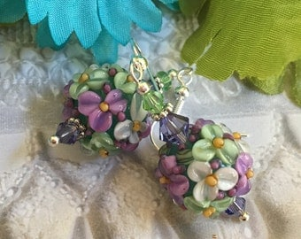 Pale Green Lampwork Floral Earrings with White and Lavender Flowers SRA Lampwork Earrings, SRA Lampwork Jewelry, Gift For Her