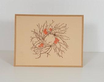 Thanksgiving Card - Happy Thanksgiving Card - Thanksgiving Wreath Card