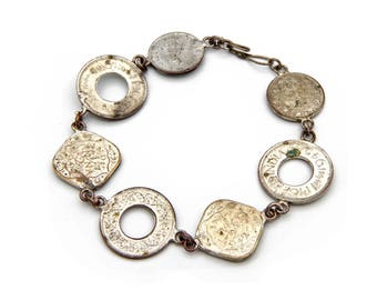 Colonial India Coins Bracelet, Vintage British Empire, Antique 30s Coins, Old Coins From India, Silver Coin Bracelet, Asia Collectible Coins