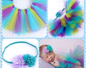 Teal and Lavender TuTu, Headband, Photo Prop, 1/2 Birthday,  Birthday Tutu Set...Super Cute
