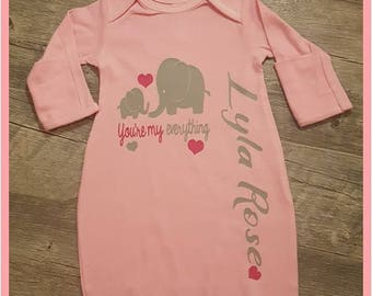 2 Piece Gown and Cap, Baby Girl Gown, Elephant, Pink Baby Gown, Gray Elephant, Pink Elephant, Monogrammed Baby Gown, Elephant and Hearts