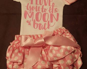 I Love You To The Moon and Back, Baby Girl Outfit,  Onesie, Boomers and Bow
