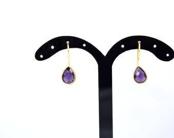 amethyst earring ,purple color earring,tiny earring ,gemstone earring,gold plating earring,light weight earring ,amethyst jewelry ,