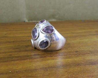 SALE - 925 Sterling Silver Amethyst Dome Ring - Size 5.5 - Vintage