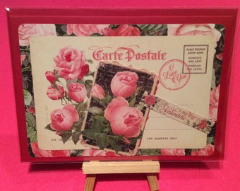 Valentines card - handmade valentine, romantic vintage style - Valentine's Day - Valentine's greetings card, pink and red roses, send love