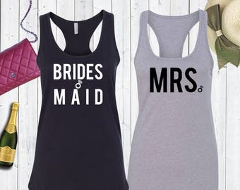 Brides Maid. Mrs. Matching Bridal Tank Tops Bachelorette Top.Bride Tank. Bridal Party Tank Tops