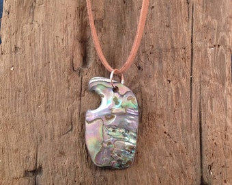 Pendant from Natural Wave-worn Fragment of California Black Abalone