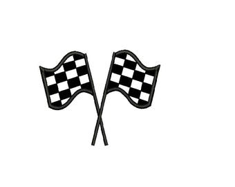 Checkered Flag Applique Machine Embroidery Design - Racing Flag Applique - instant download