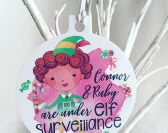 Personalised elf surveillance elf on the shelf Christmas decoration Merry Christmas decoration with name tree bauble