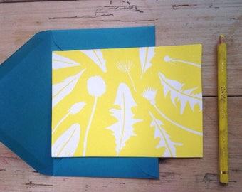 Lino printed card, dandelion