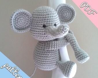 Elephant curtain tie back crochet pattern, nursery animal tieback PDF instant download PATTERN