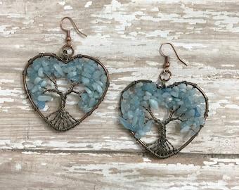 Aquamarine Tree of life Earrings, Gemstone  earrings, Aquamarine, Nature earrings, Tree Jewelry, Dangle earrings, Boho, Girly