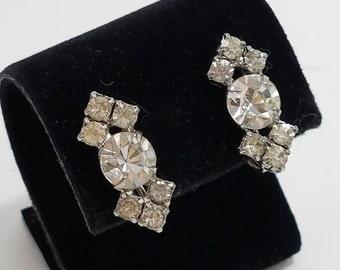Gorgeous Rhinestone Screw Back Earrings
