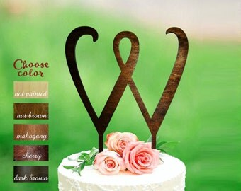 w cake topper, letter cake topper, cake topper for wedding, initial cake topper, monogram cake topper, rustic cake topper, wooden w, CT#151