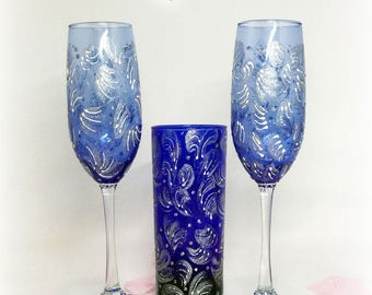 Blue Silver Champagne Flutes. Silver Navy Toasting Glasses. Royal Blue Silver Toasting Flutes. Frozen Wedding Glasses. Frozen Collection.