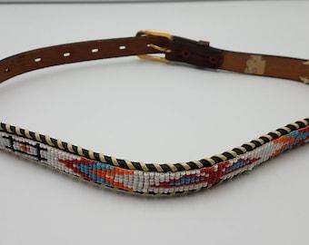 "Child's Native American Beaded Thunderbird Belt Souvenir Red Blue Orange White Black 31 1/2"" Long"