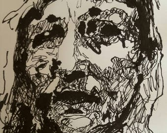 Portrait in Indian ink