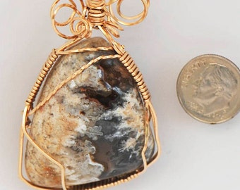 Yellow and Black Translucent Texas Plume Agate with Druzy Wrapped in 14 K Gold filled Wire