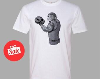Monkey Workout T-shirt Funny Mens Fitness Gym clothing. Mens Shirt. Men's gift. [C0322]