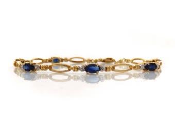 10K Sapphire Link Bracelet with Diamonds - X2418