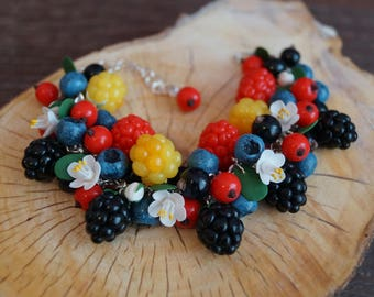 Handmade berries bracelet, fimo berry, handmade berry, Polymer clay berry, Handmade bracelet