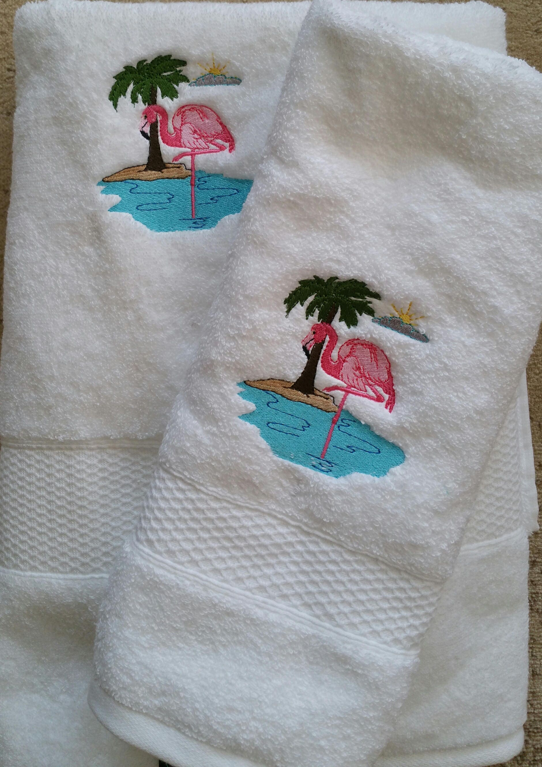 Pretty In Pink Flamingo Bath Towel Set