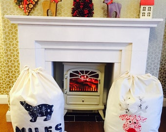 XL Personalised Christmas sacks, Handmade Large Personalised Santa Sacks, Appliqué Christmas Designs