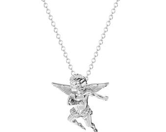 "Stainless Steel Winged Cherub Angel Pendant, 18"" Chain Necklace"