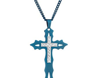 """Flaming Blue IP-Tone Cross with Silver-Tone Diamond-Cut Accent Cross in Stainless Steel,18""""- 24"""" Chain"""