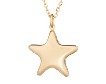 "Puffed Star Celestial Charm Pendant Necklace Stainless Steel Gold Tone with 18"" Chain"