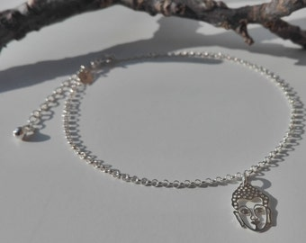 Anklet chain in 925 Silver with Buddha charm, handmade ankle bracelet, handmade
