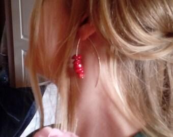 Raw red rough coral sterling silver hoop modern urban tribal long big boho earrings gift women