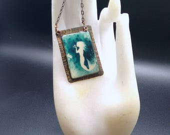 Mermaid Necklace mix media on copper