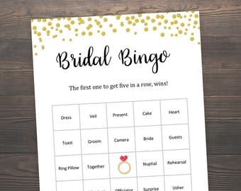 60 Bridal Bingo Cards, Bridal Shower Games, Gold Bridal Shower, 60 Bingo Printable, Gold Bridal Shower, Gold Confetti, Prefilled Bingo,J001
