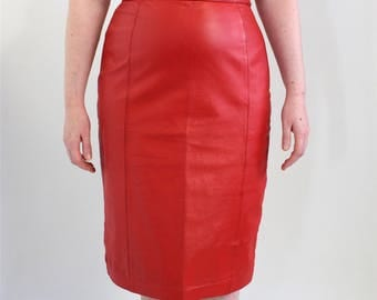 Vintage Clothing • Bright Red Leather Skirt • 1980s Mid- Length •  Leather Pencil Skirt •