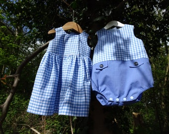 Baby blue gingham romper suit with pockets