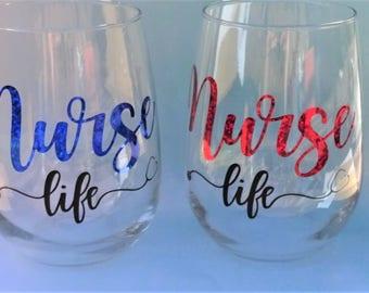 Nurse Life- Vinyl, Stemless Wine Glass