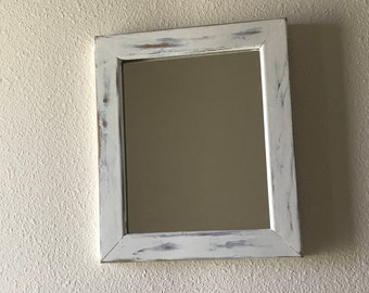 Repurposed mirror, distressed wood mirror, gray rustic mirror, hand painted wood mirror, gray shabby chic mirror, distressed hanging mirror